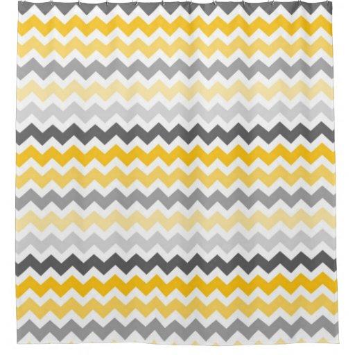Yellow Dark Grey Chevron Stripes Shower Curtain | Zazzle