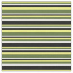 [ Thumbnail: Yellow, Dark Olive Green, White & Black Lines Fabric ]