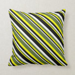 [ Thumbnail: Yellow, Dark Olive Green, White & Black Lines Throw Pillow ]