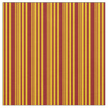 [ Thumbnail: Yellow & Dark Red Striped/Lined Pattern Fabric ]