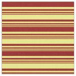 [ Thumbnail: Yellow & Dark Red Striped Pattern Fabric ]