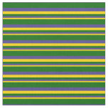[ Thumbnail: Yellow, Dark Slate Blue & Dark Green Lines Fabric ]