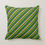 [ Thumbnail: Yellow, Dark Slate Blue & Dark Green Lines Pillow ]