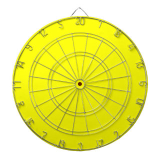 Yellow Dartboard With Darts