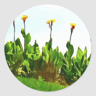 Yellow Day Lilies Classic Round Sticker
