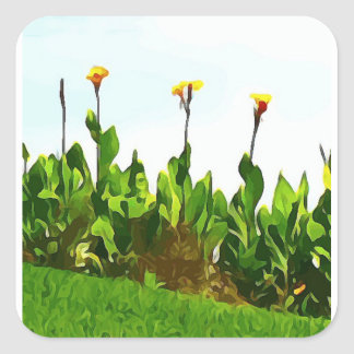 Yellow Day Lilies Square Sticker