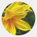 Yellow Daylily 5 Flare Round Stickers