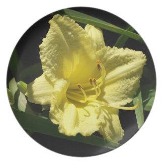 Yellow Daylily Flower Plate