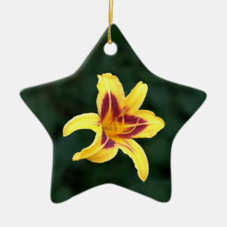 Yellow Daylily Flower with Red, Hemerocallis: Ceramic Ornament