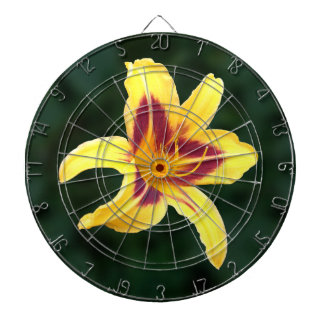 Yellow Daylily Flower with Red, Hemerocallis Dartboards