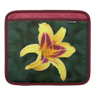Yellow Daylily Flower with Red, Hemerocallis: Sleeve For iPads