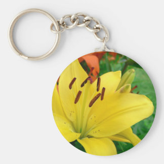 Yellow daylily keychain
