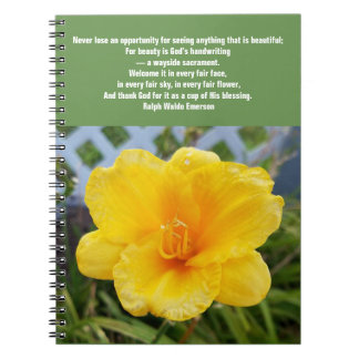 Yellow Daylily Notebook with Emerson Quote
