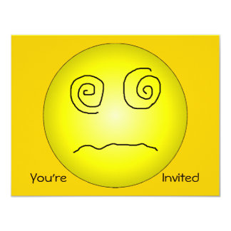 """Yellow Dazed and Confused Smiley 4.25"""" X 5.5"""" Invitation Card"""