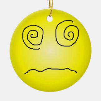 Yellow Dazed and Confused Smiley Ornaments