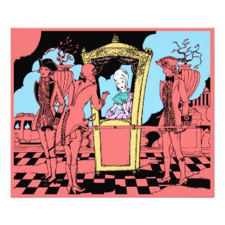 Yellow Deco 18th Century Sedan Chair Lady in Pink Photo Print
