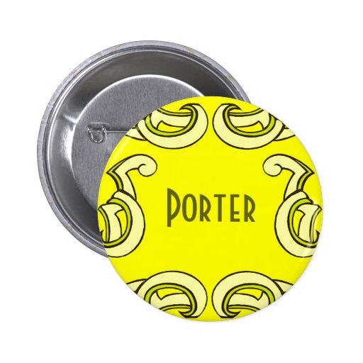 Yellow Deco Name Tag Pinback Button