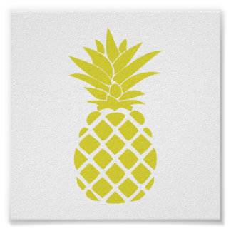 Yellow Decorative Pineapple Shape Poster