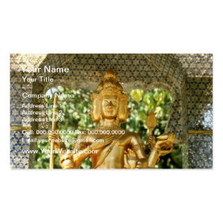yellow Deities In Three Buddha Temple In Central H Business Card Template