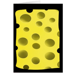 Yellow delicious cheese with holes card