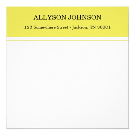 Yellow Design Square Flat Note Cards Invite