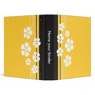 Yellow Designer White Flowers Binders binder