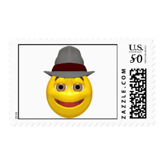 Yellow detective smiley face postage