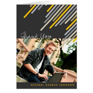 Yellow Diagonal Stripes Graduation Thank You Card