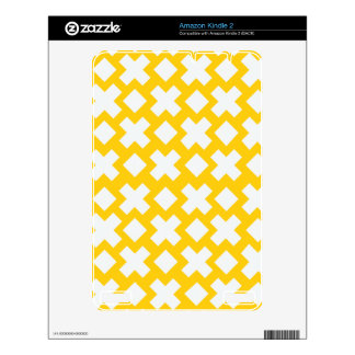 Yellow Diamond Cross Pattern Kindle 2 Skin