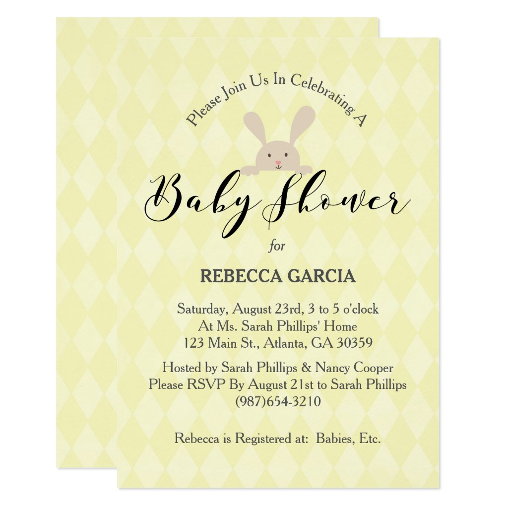 Yellow Diamond Cute Bunny Baby Shower Card
