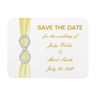Yellow Diamond Infinity Save The Date Magnet Flexible Magnet