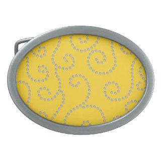 Yellow diamond swirls oval belt buckle
