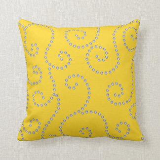 Yellow diamond swirls throw pillows