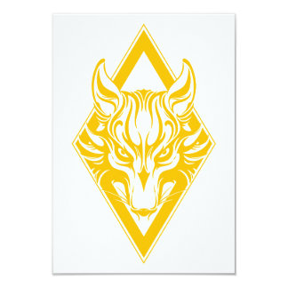 Yellow Diamond Wolf Face Graphic Custom Announcements