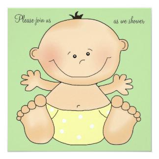 Yellow Diapered Cutie Baby Shower Invitation