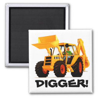 Yellow Digger 2 Inch Square Magnet