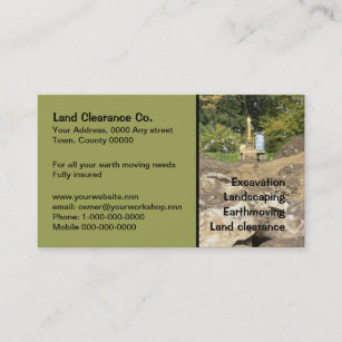Excavation business cards zazzle yellow digger behind rocks business card colourmoves