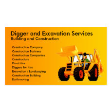 Yellow Digger Construction Contractor Business Card