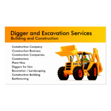 Yellow Digger Custom Construction and Excavator Business Card