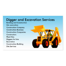 Yellow Digger Custom Construction Business Card