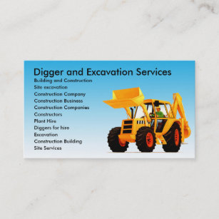 Excavation business cards zazzle yellow digger excavator custom construction business card colourmoves