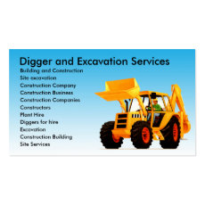 Yellow Digger / Excavator Custom Construction Business Card