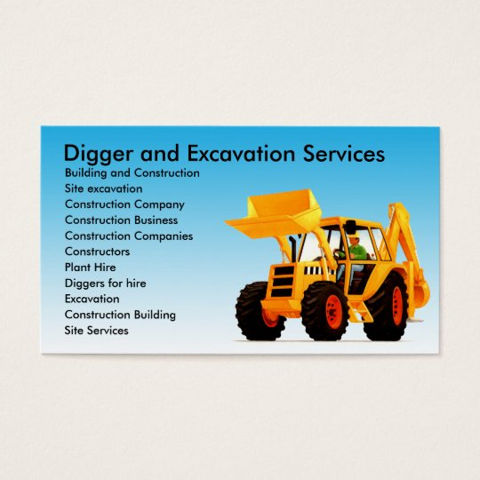 Yellow digger excavator custom construction business card zazzle yellow digger excavator custom construction business card reheart Choice Image