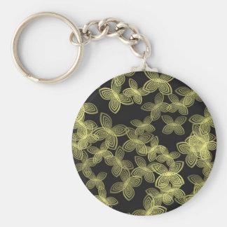 Yellow Digi-Flower Design Keychain