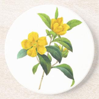 Yellow DiIlinea Scandens by Pierre Joseph Redoute Sandstone Coaster