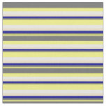 [ Thumbnail: Yellow, Dim Grey, Dark Blue, Tan & White Stripes Fabric ]
