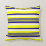 [ Thumbnail: Yellow, Dim Grey, Dark Blue, Tan & White Stripes Throw Pillow ]