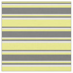 [ Thumbnail: Yellow, Dim Grey & White Colored Lines Fabric ]