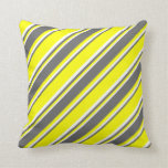 [ Thumbnail: Yellow, Dim Grey & White Colored Lines Pillow ]