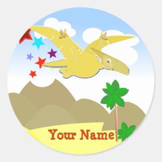 Yellow Dinosaur Pteranodon Name Stickers